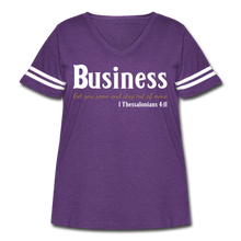 Load image into Gallery viewer, Business Premium Women's Curvy Vintage Sport T-Shirt - vintage purple/white