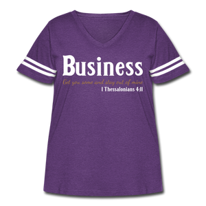 Business Premium Women's Curvy Vintage Sport T-Shirt - vintage purple/white