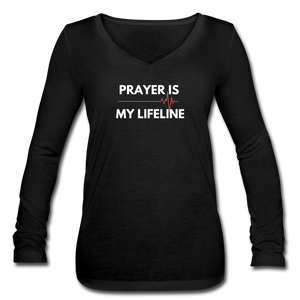 Prayer Life Line-Women's Long Sleeve  V-Neck Flowy Tee - black