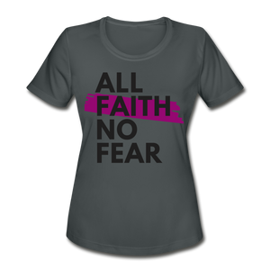 NO FEAR WOMEN'S-Moisture Wick/Performance Tee - charcoal