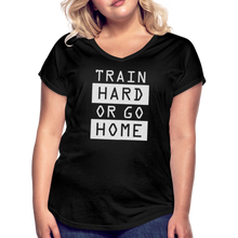 Load image into Gallery viewer, Train Hard Silver Glitter-Women's Tri-Blend V-Neck T-Shirt - black