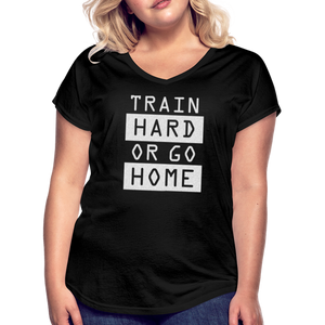 Train Hard Silver Glitter-Women's Tri-Blend V-Neck T-Shirt - black