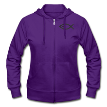 Load image into Gallery viewer, Team Jesus-Heavy Blend Women's Zip Hoodie - purple