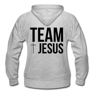 Team Jesus-Heavy Blend Women's Zip Hoodie - heather gray