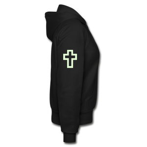 Glow In The Dark Team Jesus- Heavy Blend Women's Zip Hoodie - black