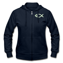 Load image into Gallery viewer, Glow In The Dark Team Jesus- Heavy Blend Women's Zip Hoodie - navy