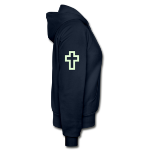 Glow In The Dark Team Jesus- Heavy Blend Women's Zip Hoodie - navy