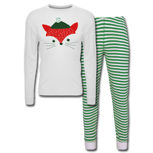 Load image into Gallery viewer, Fox Unisex Pajama Set - white/green stripe