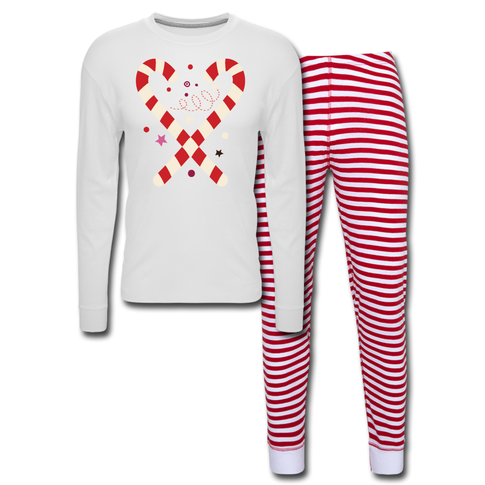 Candy Cane-Unisex Pajama Set - white/red stripe