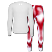Load image into Gallery viewer, Candy Cane-Unisex Pajama Set - white/red stripe