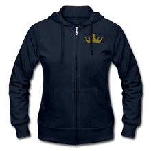 Load image into Gallery viewer, Glitter Glam Heavy Blend Women's Zip Hoodie - navy