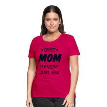 Load image into Gallery viewer, Best Mom Ever/Black Glittery Bling Women's Premium T-Shirt - dark pink