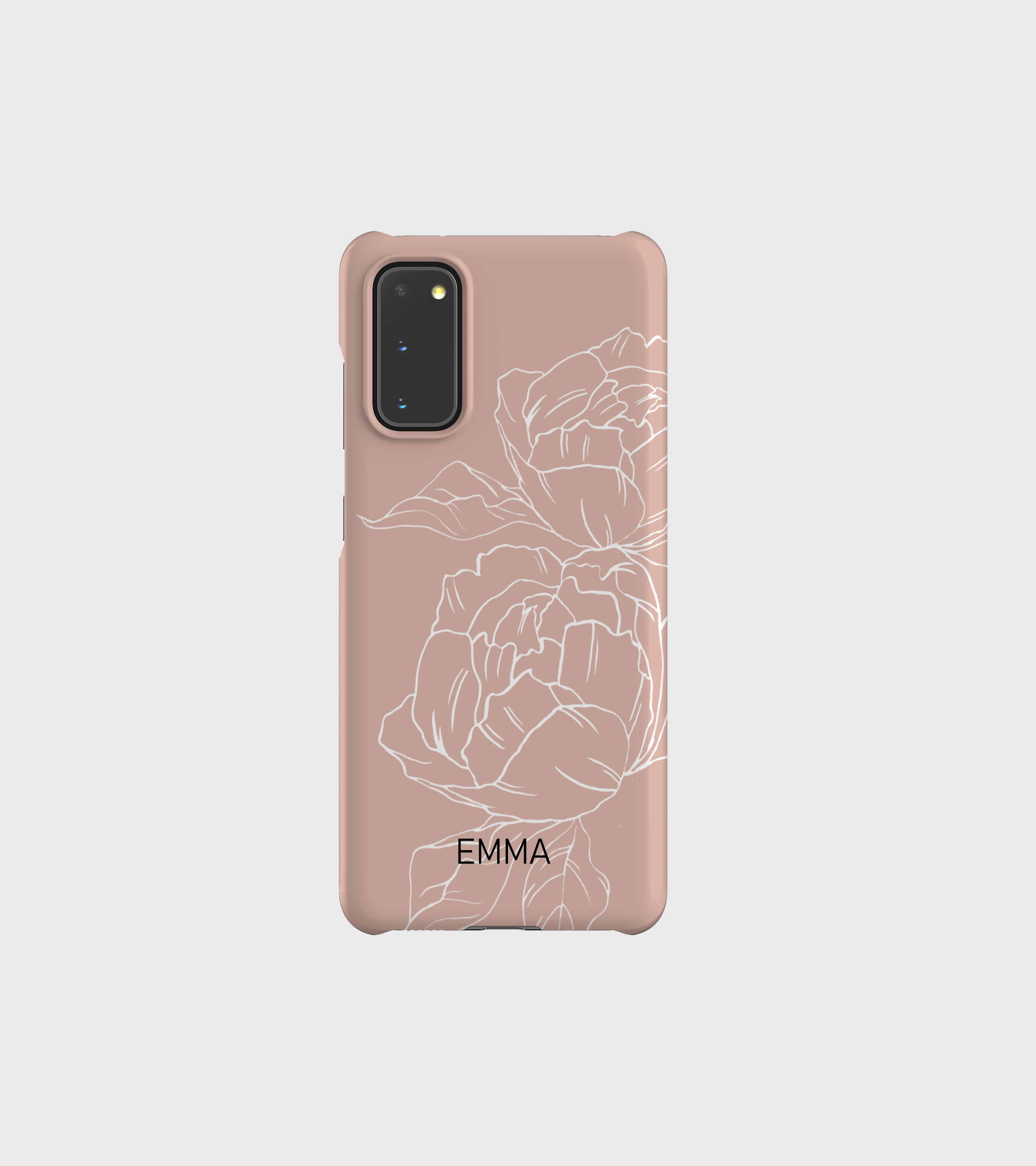 Peony Line Art Phone Case in Dusty Pink- Samsung