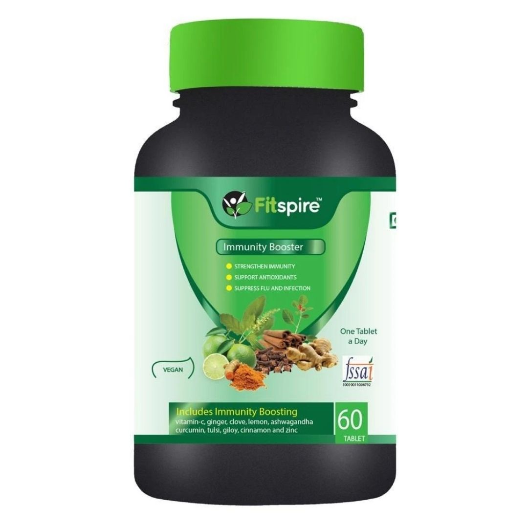 Best Immunity Booster Supplements In India | Fitspire Immunity Booster Enriched with Amla, Ginger, Clove, Lemon, ashwagandha, Turmeric, Tulsi, Giloy, Cinnamon & Zinc 60 Tablets |