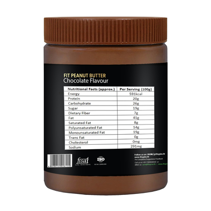 Fitspire Fit Peanut Butter | 100% Roasted Peanuts, No Trans-fat, No Fillers, No Cholesterol, Gluten-Free, Vegan, Rich in Protein, Rich Source of Fibre (Crunchy Chocolate Flavour)
