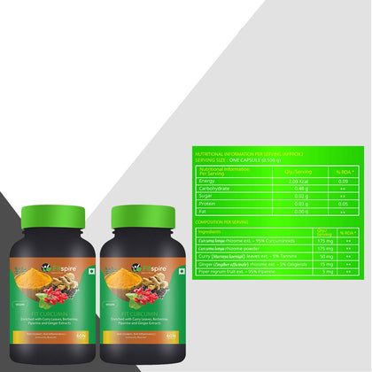 Fitspire Fit Curcumin | | Enriched With Curcuminoids, Curry Leaves, Berberine, Piperine & Ginger Extracts - 60 Capsule (Combo Pack)