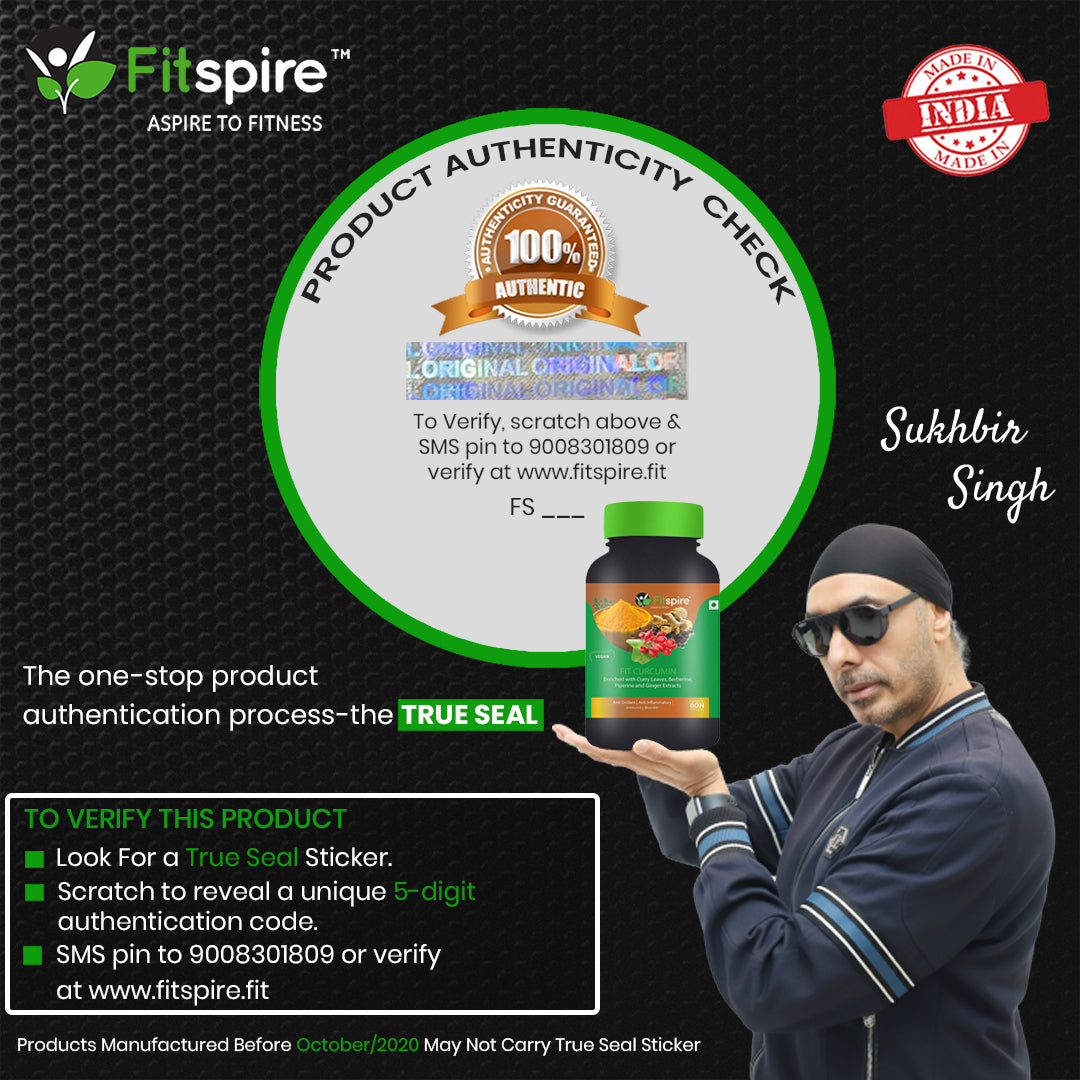 Fitspire Fit Curcumin | Immunity Booster | Enriched With Curcuminoids, Curry Leaves, Berberine, Piperine & Ginger Extracts - 60 Capsules