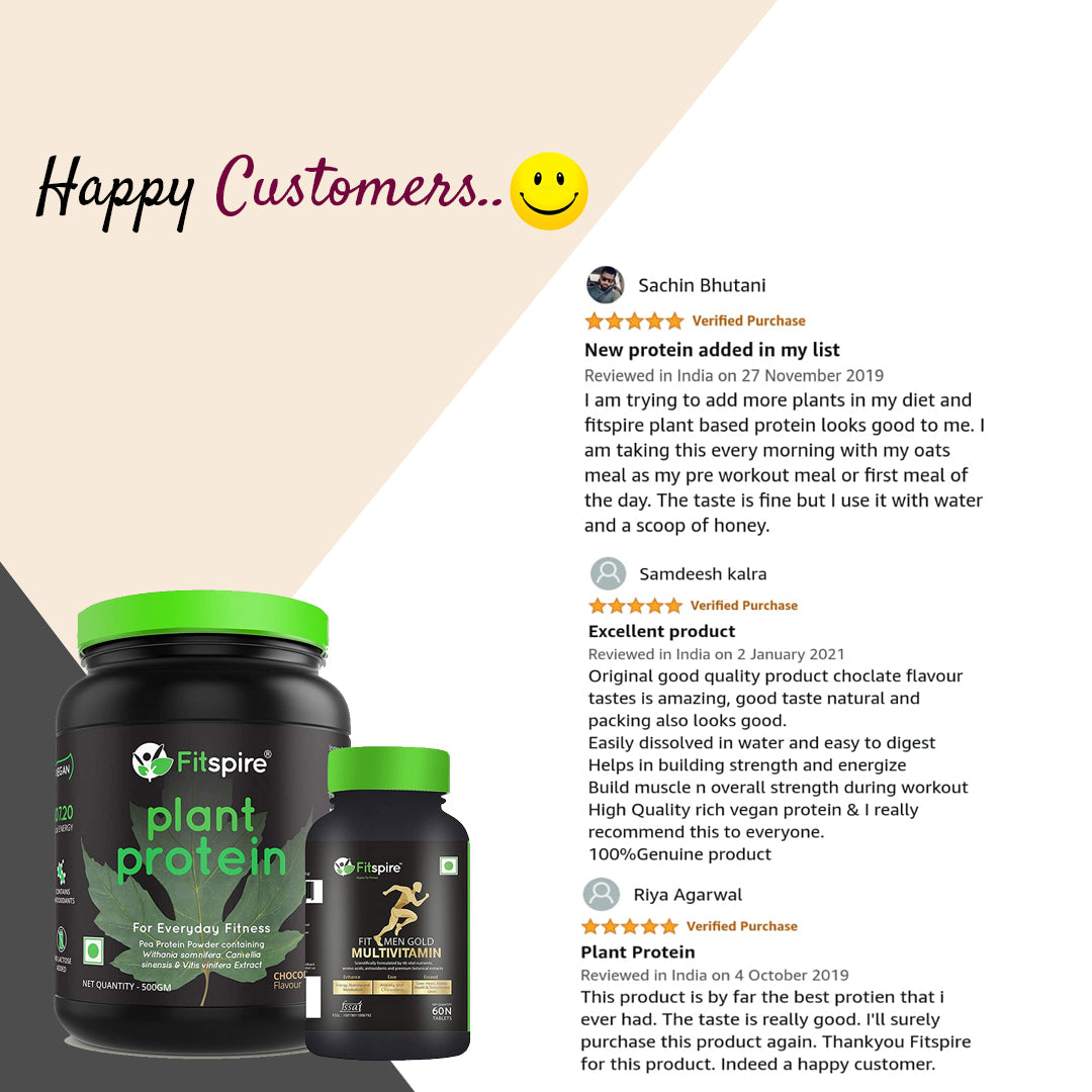 Fitspire Plant Protein with Fit Men Multivitamin | Pea Protein Powder | Vegan | No Lactose Added | Chocolate Flavor