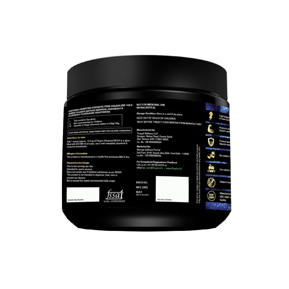 Fitspire Super Gold BCAA I Pre Workout I Muscle Growth & Recovery I L-Leucine, L-Isoleucine and L-Valine - 250 g