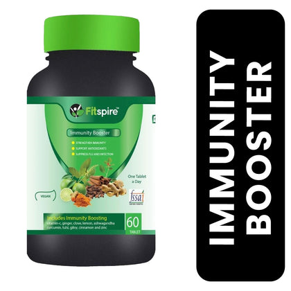 Fitspire Immunity Booster Enriched with Amla, Ginger, Clove, Lemon, Ashwagandha, Turmeric, Tulsi, Giloy, Cinnamon & Zinc - 60 Tablets
