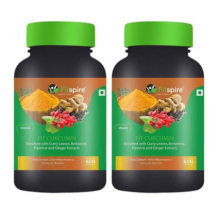 Fitspire Fit Curcumin Combo | Enriched with Curry Leaves, Berberine, Piperine & Ginger Extracts