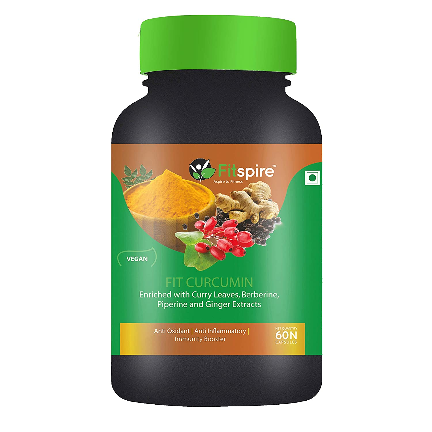 Fitspire Fit Curcumin | | Enriched With Curcuminoids, Curry Leaves, Berberine, Piperine & Ginger Extracts - 60 Capsules