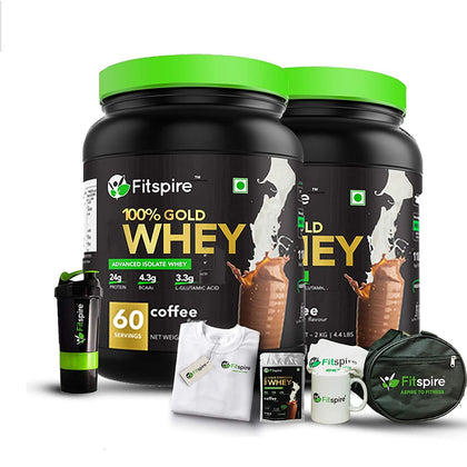 Fitspire 100% Whey Protein Gold with Loaded Fit Kit| No Added Sugar, Low Carbs, Zero Cholesterol & Gluten Free | Coffee | 4 Kg
