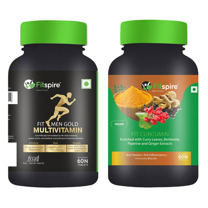 Fitspire Fit Men Multivitamin & Fit Curcumin Combo