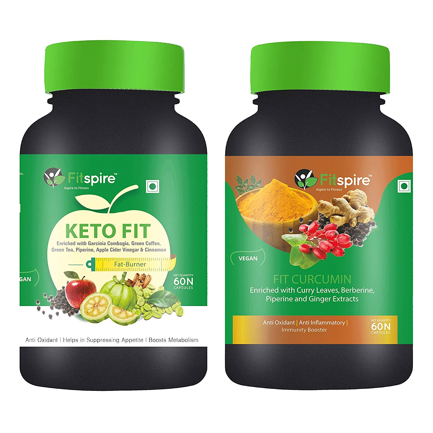 Fitspire Keto Fit & Curcumin, Immunity Booster - 60 Capsules (Pack Of 2)