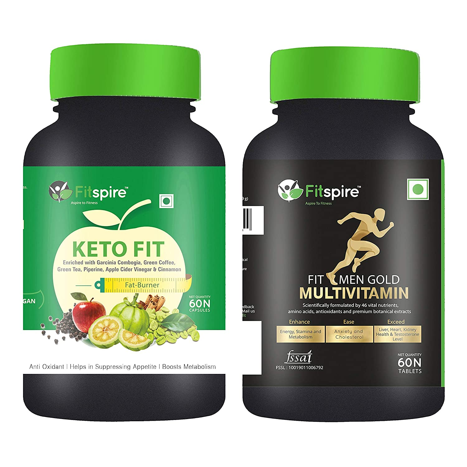 Fitspire Keto Fit Capsules with Fit Men Multivitamin Tablets Combo Pack