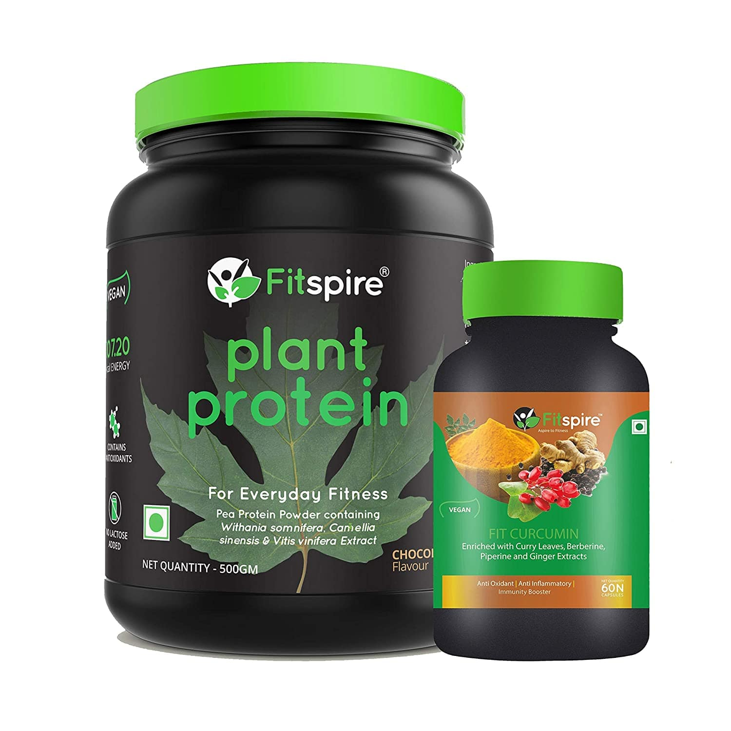 Fitspire Plant Protein with Curcumin | Pea Protein Powder | Vegan | No Lactose Added | Chocolate Flavor - 500 Gm