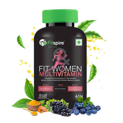 Fitspire Fit Women Multivitamin (Energy, Strength with 37 Vital Nutrients) ISO Certified | Daily Health Supplement for Women - 60 Tablets