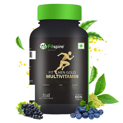Fitspire Fit Men Gold Multivitamin | Immunity Booster with 46 Vital Nutrients, Amino Acids, Antioxidants & Premium Botanical Extracts