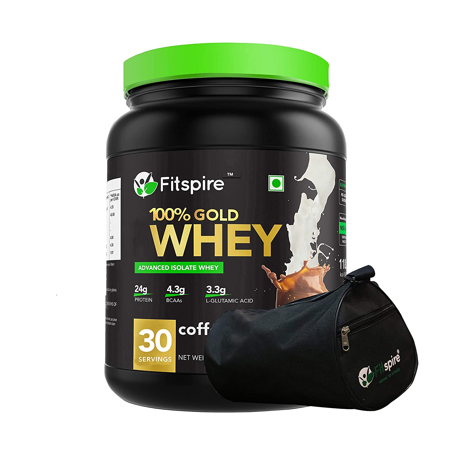 Fitspire 100% Whey Protein Gold with Gym Bag | No Added Sugar, Low Carbs, Zero Cholesterol & Gluten Free | 1kg