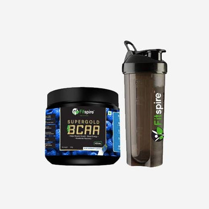 Fitspire Super Gold BCAA  for Pre & Post Workout & Fitspire Shaker Combo