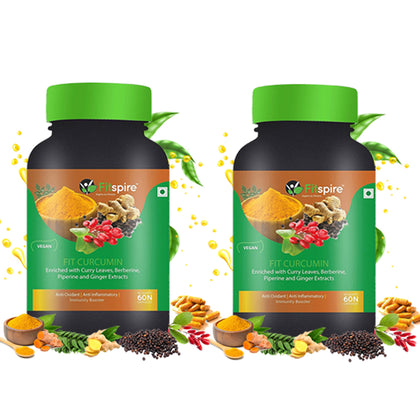 Fitspire Fit Curcumin | Immunity Booster | Enriched With Curcuminoids, Curry Leaves, Berberine, Piperine & Ginger Extracts - 60 Capsule (Combo Pack)