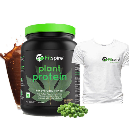 Fitspire Plant Protein with T-Shirt | Pea Protein Powder | Vegan | No Lactose Added | Chocolate Flavor - 500 Gm
