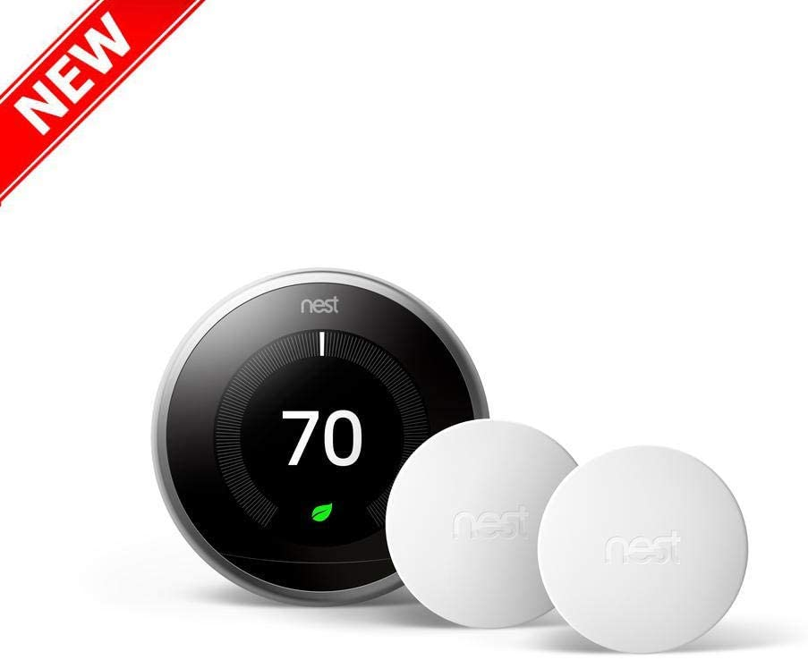 Nest Wi-Fi Thermostat Smart Programmable 3rd Gen Stainless Temperature Sensor