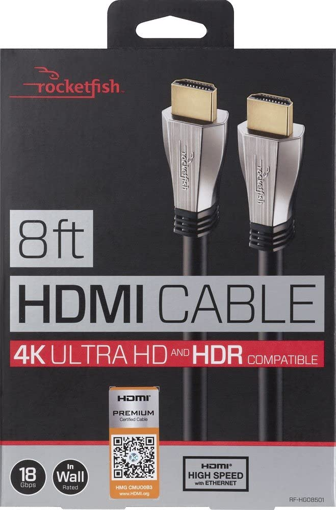 Rocketfish™ - 8' 4K UltraHD/HDR In-Wall Rated HDMI Cable - Black