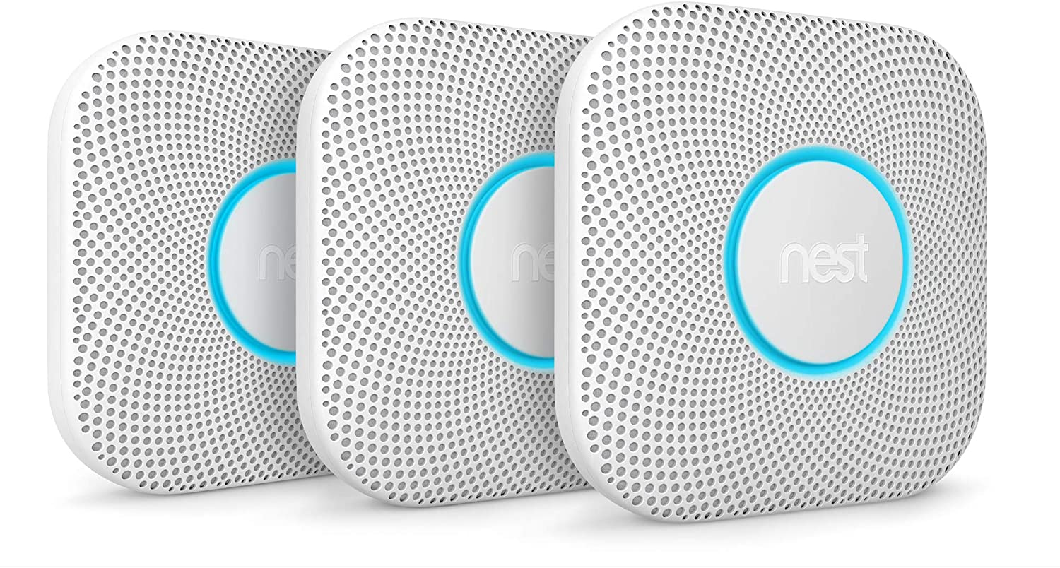 Google - Nest Protect 2nd Generation (Battery) Smart Smoke/Carbon Monoxide Alarm (3-Pack) - White