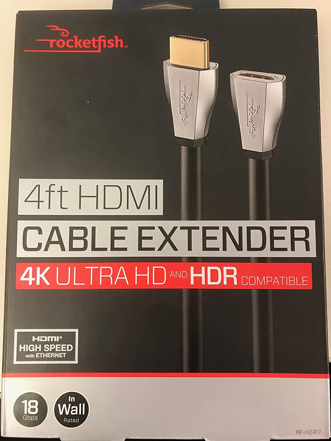 Rocketfish™ - 4' 4K Ultra HD HDMI Extension Cable - Black/silver