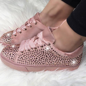 DIHOPE New Fashion Women Crystal Flat Shoes 2020 Autumn Fashion  Lace Up Ladies Casual Shoes Comfortable Round Toe