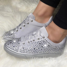 Load image into Gallery viewer, DIHOPE New Fashion Women Crystal Flat Shoes 2020 Autumn Fashion  Lace Up Ladies Casual Shoes Comfortable Round Toe