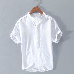 New Summer white shirt men short sleeve High quality breathable solid tops soft shirt man clothing chemise homme RC203