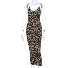 Load image into Gallery viewer, Hugcitar 2020 Leopard Print Sleeveless V-Neck Sexy Midi Dress Spring Women Fashion Streetwear Christmas Party Outfits