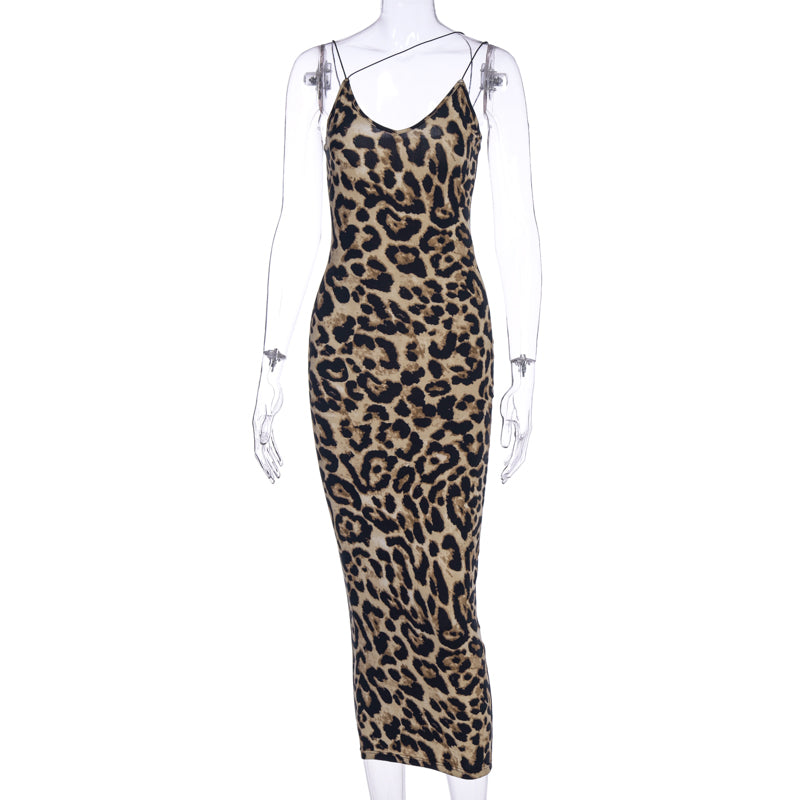 Hugcitar 2020 Leopard Print Sleeveless V-Neck Sexy Midi Dress Spring Women Fashion Streetwear Christmas Party Outfits