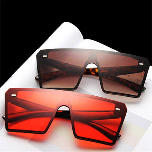 2020 Oversize Square Sunglasses Women Fashion Flat Top Gradient Sun Glasses Men Rimless Large Frame Oculos UV400 Points