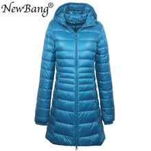 Load image into Gallery viewer, NewBang 8XL Ladies Long Warm Down Coat With Portable Storage Bag Women Ultra Light Down Jacket Women's Overcoats Hip-Length