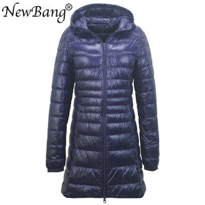 NewBang 8XL Ladies Long Warm Down Coat With Portable Storage Bag Women Ultra Light Down Jacket Women's Overcoats Hip-Length