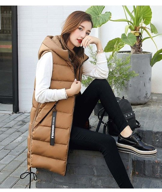 Brieuces  Autumn Winter Vest Women Waistcoat 2020 Female Sleeveless Vest Jacket Hooded Warm Long Vest Coat Colete Feminino